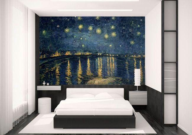 Van Gogh wall mural by .wallpapered.com & Wonderful World Map Wall Designs for Voyagers | Para La Casa ...