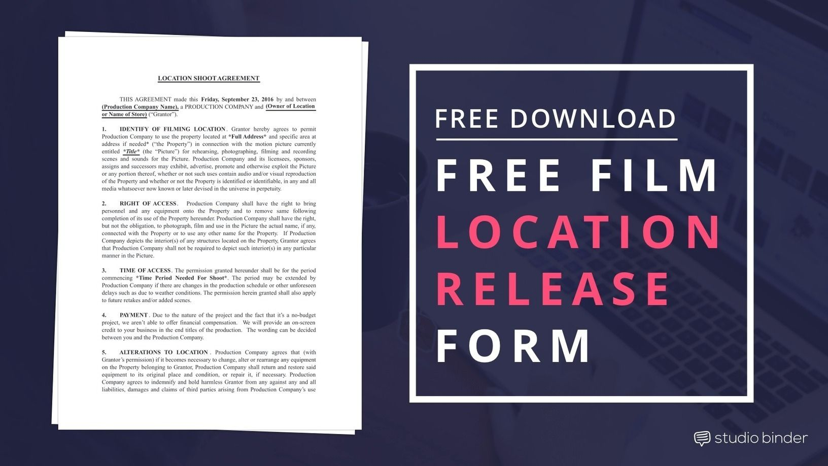 Download FREE Film Location Release Form Template | Pinterest ...