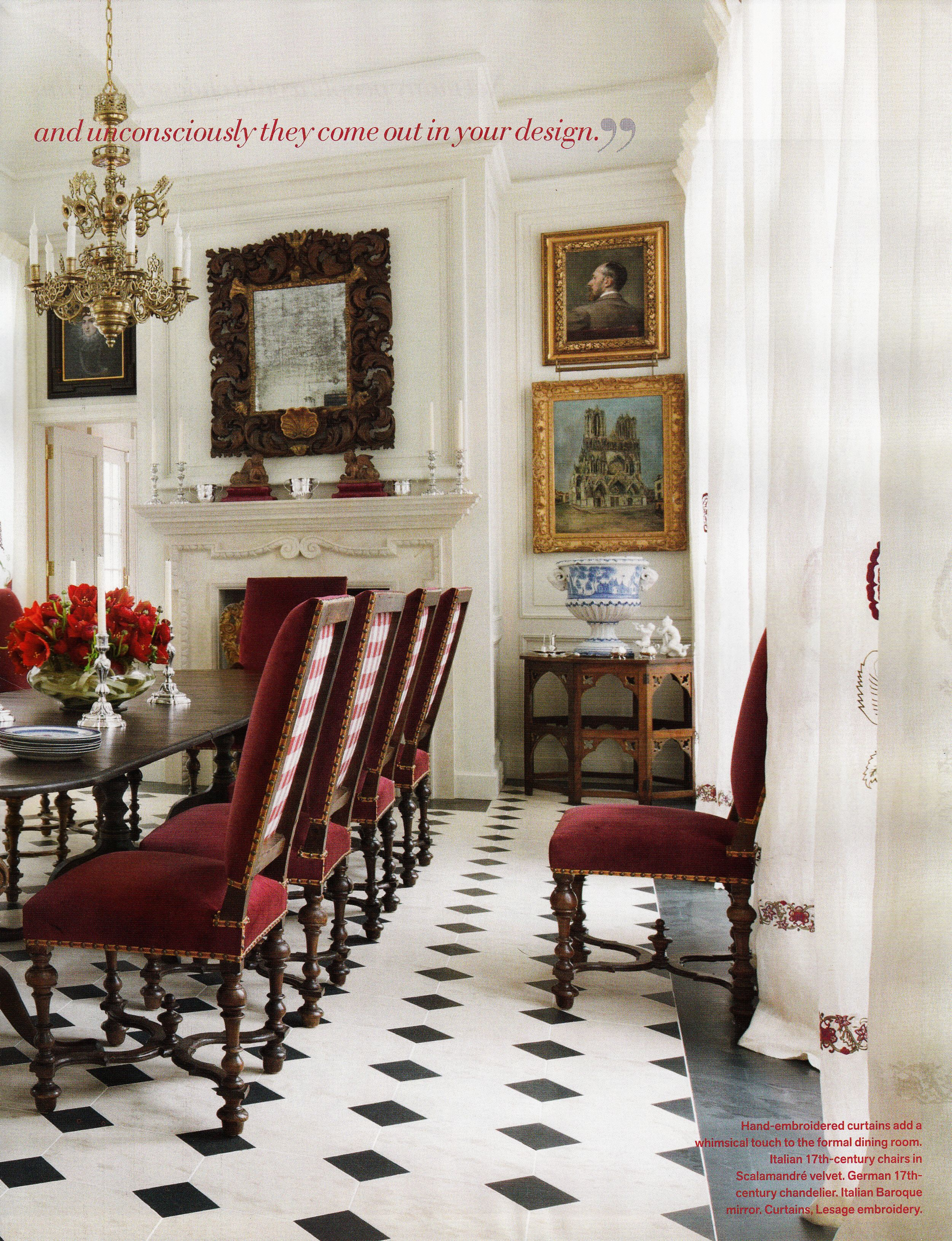 Room of the day cream black gold and deep red stunning - Robert couturier interior design ...