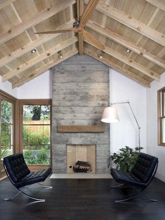 Top 60 Best Concrete Fireplace Designs Minimalistic Interior Ideas Contemporary Fireplace Vaulted Ceiling Ideas Concrete Fireplace