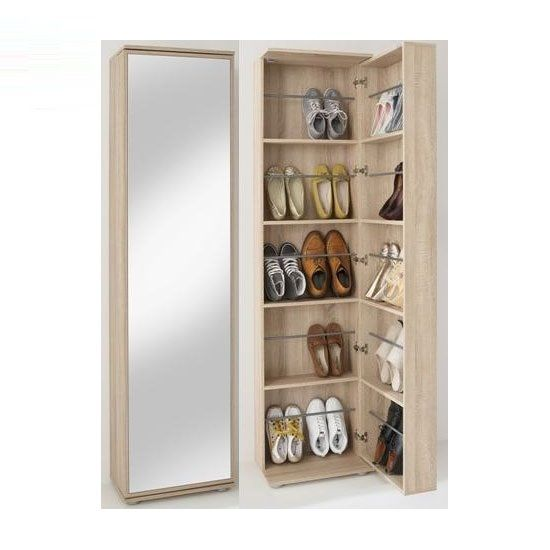 Wooden Shoe Cabinet With Full Mirror In Canadian Oak   17124 Make A  Statement With Shoe Storage Cabinet For Your Home. Furniture In Fashion  Offers Shoe.
