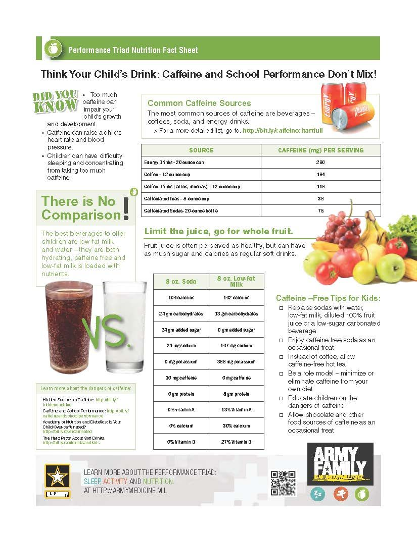 Performance Triad Back To School Nutrition Fact Sheet