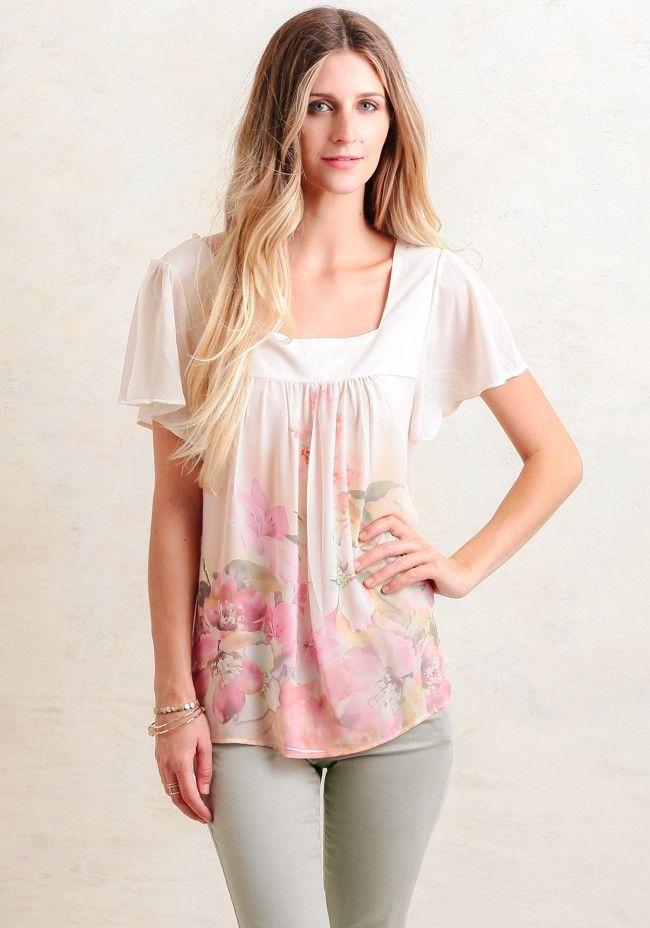 de06c2f0 Pretty Floral Print Blouse with Flutter Sleeves, Square Neckline ...