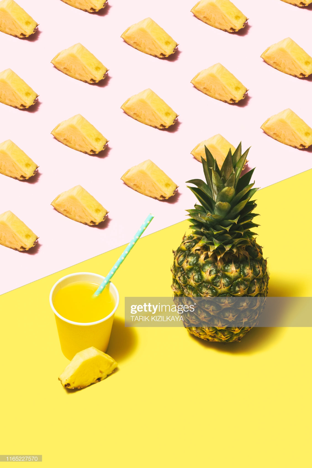 Pineapple Juice Flat Lay On Pink And Yellow Background In 2020 Yellow Background Pineapple Pineapple Juice