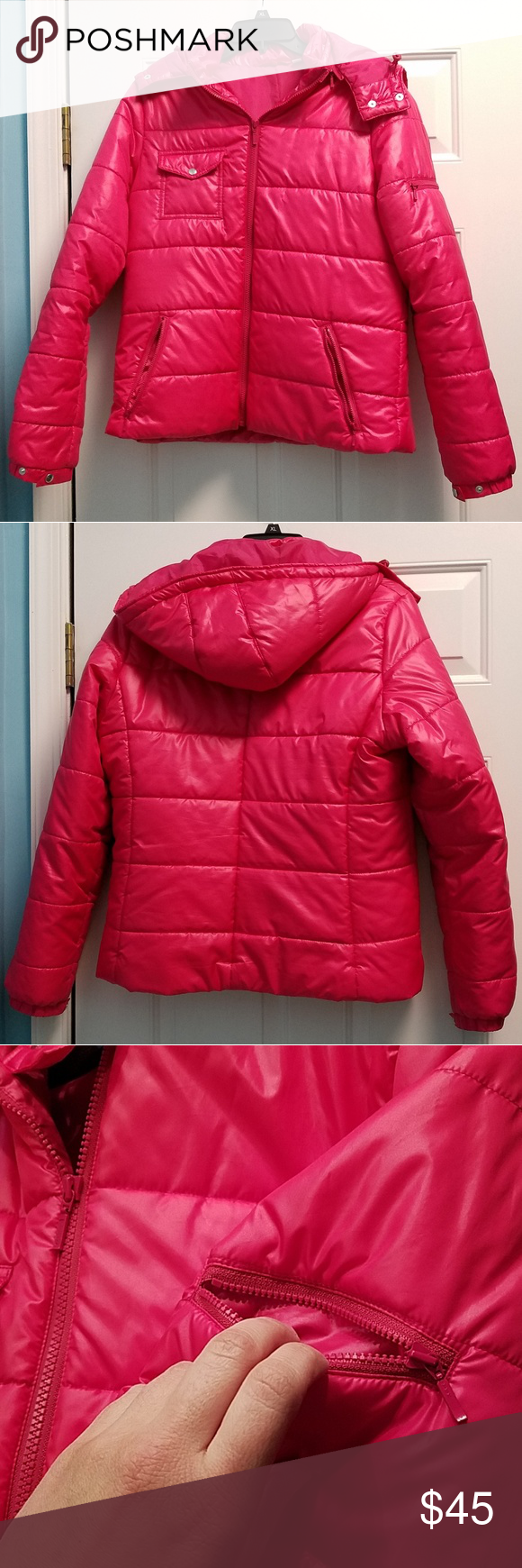 size L Uniqlo hot pink puffer jacket Clothes design
