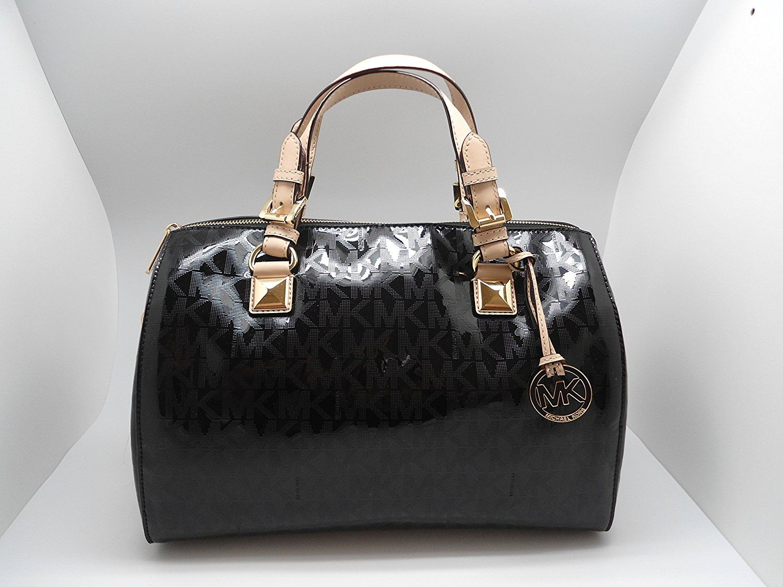 169411da9620 MICHAEL Michael Kors Womens Grayson Mirror Metallic Satchel Handbag Black  Large     Check out