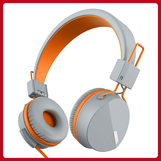 Kanen I39 Headphones On ear Foldable Noise Isolating Headsets with Mic and Remote for Kids Adults (Orange) - Audio gadgets (*Amazon Partner-Link)