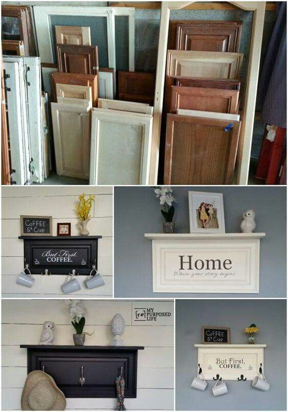 Old Kitchen Cabinet Door Made Into A Shelf With Hooks With