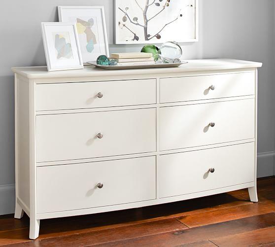 Chloe 6Drawer Extra Wide Dresser, Antique White in 2020