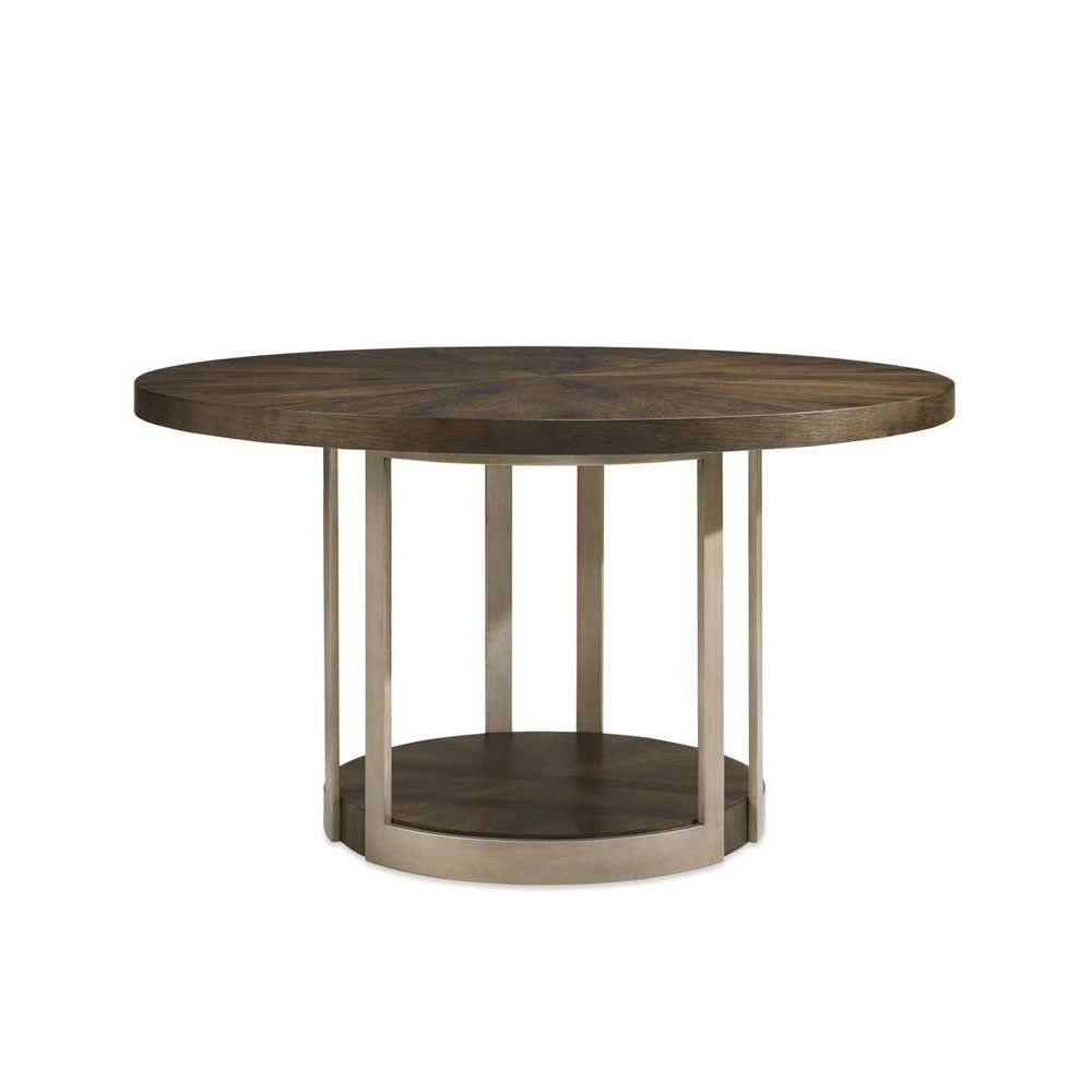 Shown In Dark Fumed Oak And Artisan Metal Finish Nestle This Round Table In Any Deserving Niche A Pedestal Dining Table Round Table Decor Caracole Furniture [ 1000 x 1000 Pixel ]