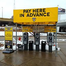 The 2'x10' sign with the pay station rates is printed vinyl adhered to Max Metal. #3M #vinyl #sign #intermodal