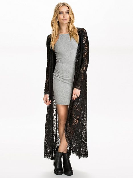 The Long Lace Cardigan - Nly Trend - Noir - Pulls Et Sweats ...