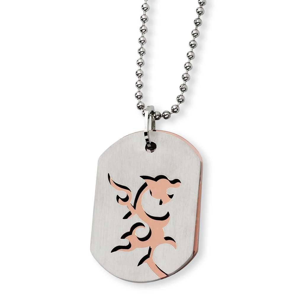 Chisel and chocolate ipplating dragon dogtag necklace products