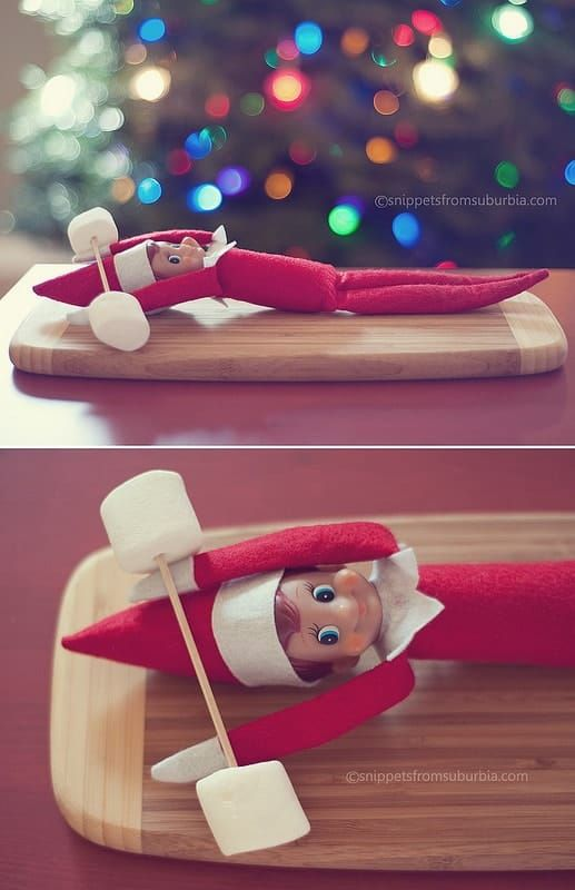 Elf on the Shelf Getting a Workout by Snippets in Suburbia and other great last minute Elf on the Shelf Ideas #elfontheshelfideas