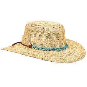 19803e96466c6 Tommy Bahama TBWL54OS Natural Crochet Raffia Wide Brim Hat