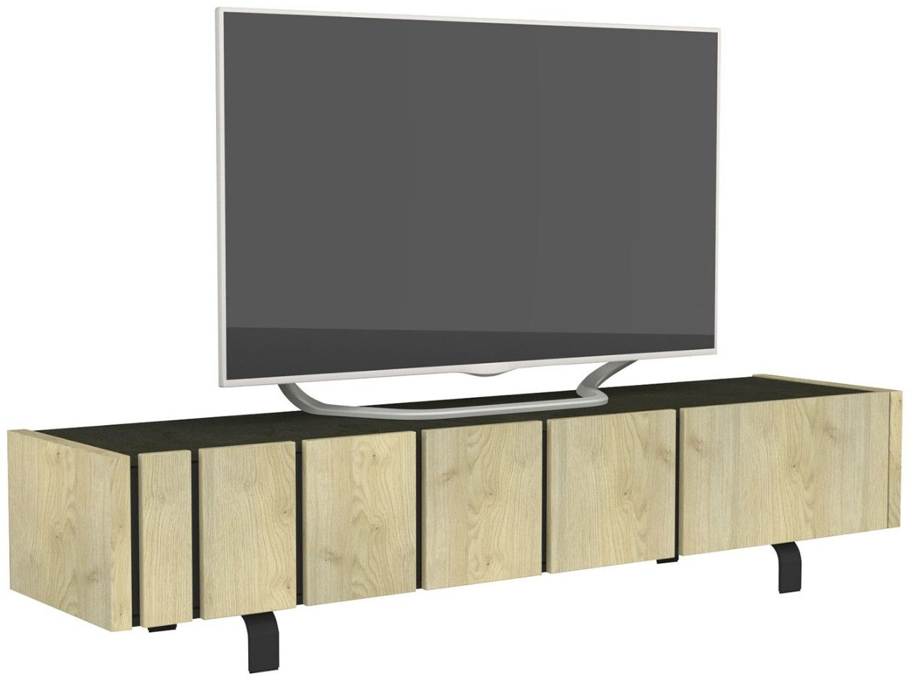 Meuble Tv 1 Porte 1 Tiroir Beton Cire Et Bois Clair Rosie 190 Collection De Meubles Mobilier De Salon Et Meuble
