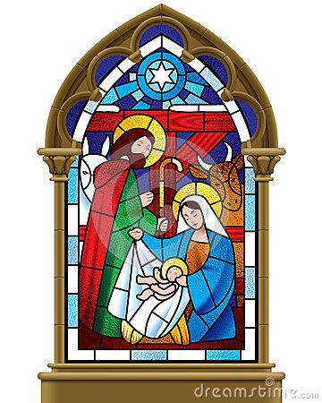 Christmas Stained Gl Window In Gothic Frame Stock Vector Image 63485342