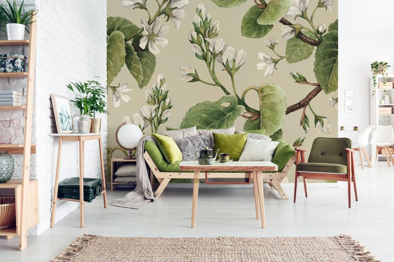 Spring tree • Retro - Living room - Nature - Flowers and plants - Wall Murals ✓ 365 Day Money Back Guarantee ✓ Consulting on the Pattern Selection ✓ 100% Safe✓ Set up online!