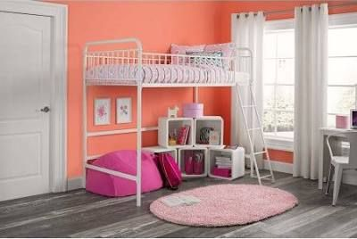 Better Homes And Gardens Kelsey Twin Metal Loft Bed White