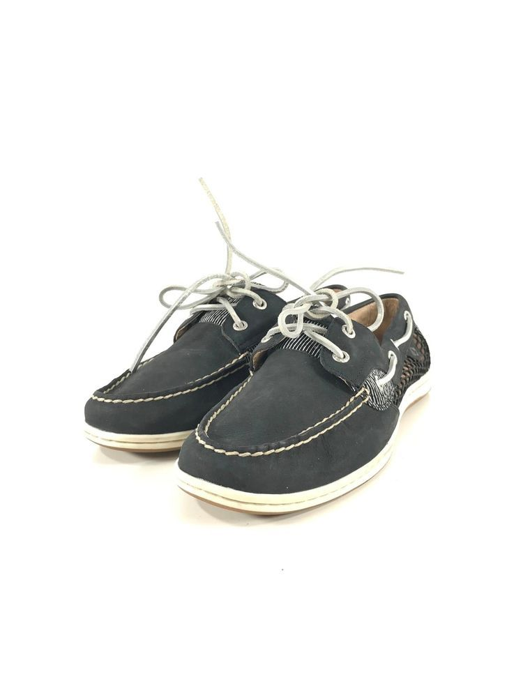 50d37d4d7f 81A NEW Sperry Top-Spider Koifish Women s Black Textile Sz 10 M  fashion