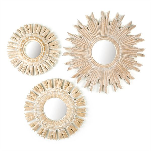 Set Of 3 Sunburst Pickled Mirrors Design By Tozai 358 Liked On Polyvore Featuring Home Decor Wall Mirror