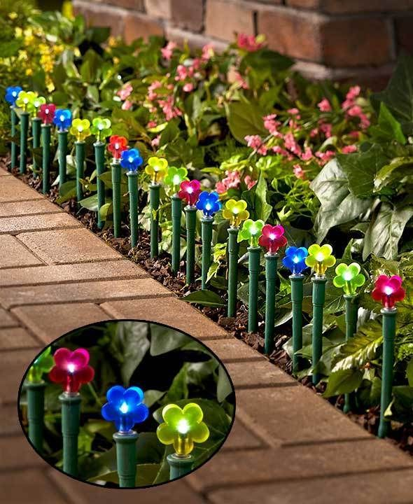 20Pc Solar Flower Stakes Colorful Garden Decor Path Lights Line