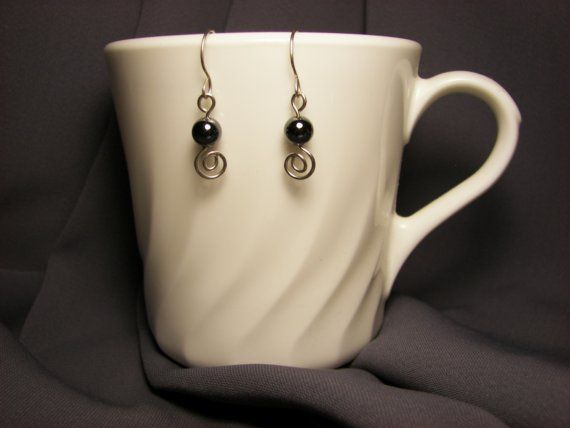 USA Wire Art and Hematite Silver Earrings Bead Color by jonikay52, $4.98