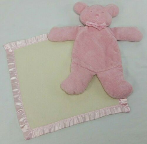 Teddy Bear Security Blanket Plush Lovey Pocket Pink White Satin Trim Vintage #teddybear #securityblanket #blanket #pink #teddybear #lovey #babyblanket #vintage #satintrim #pink #pinkandwhite