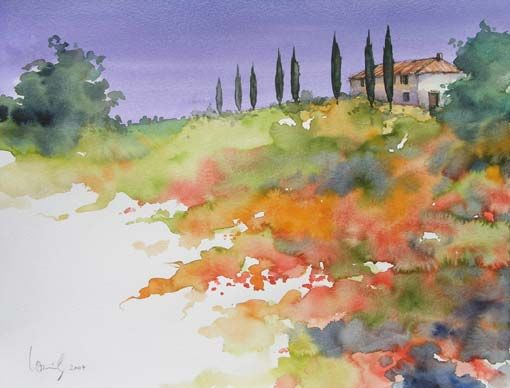 Watercolour Toscany From Heinz Lomnicky Aquarell Ideen