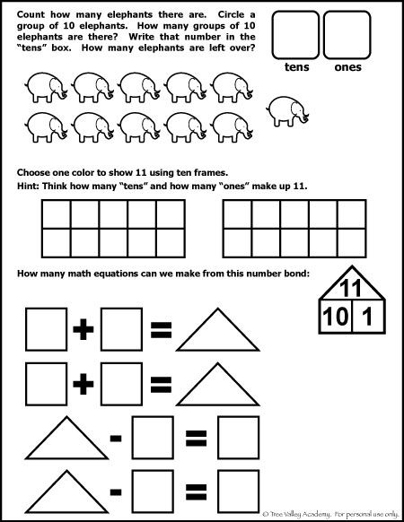 Number Bonds to 11 Free Math Worksheets | Pinterest | Mathe