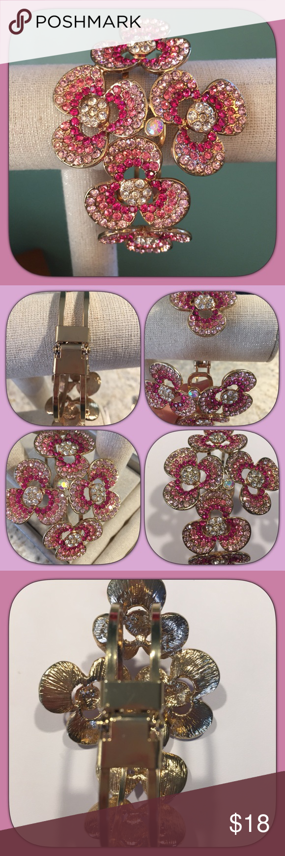 "Bracelet Cute cuff light pink/hot pink/crystal beaded bracelet. Flower design with Gold tones, 3"" height, 5"" across. Jewelry Bracelets"