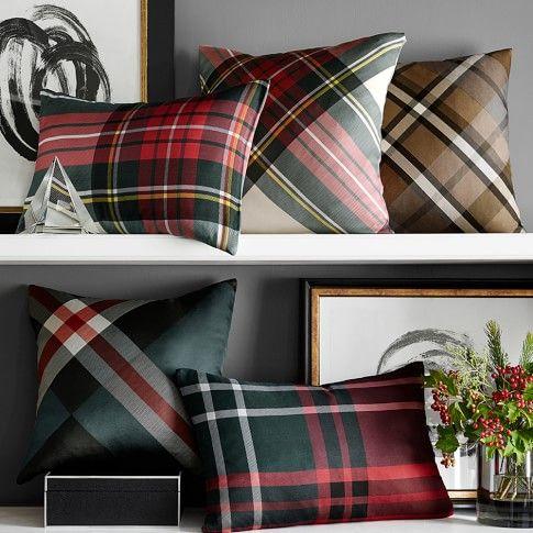 Tartan Printed Silk Pillow Cover Stewart Tartan Plaid