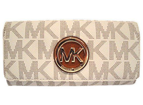 ca07f4da8ddb cool Michael Kors Womens Fulton Signature Long Continental Clutch Wallet  Vanilla Acorn