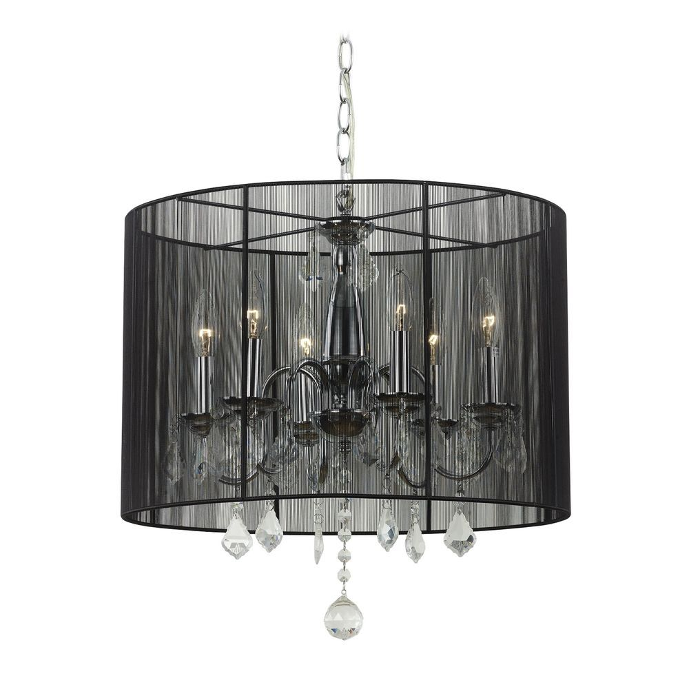 Ashford Classics Lighting Crystal Chandelier Pendant Light With Black Drum Shade 2237 Bk 120
