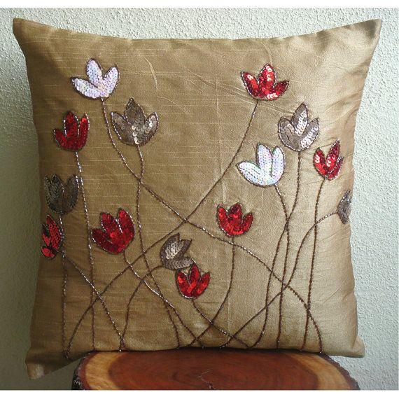 Tulip Sparkle Pillow Sham Covers 24x24 Inches Silk Pillow Sham