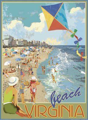 Virginia Beach Kite-Art Deco Style Vintage Travel Poster-by Aurelio Grisanty:Amazon:Everything Else