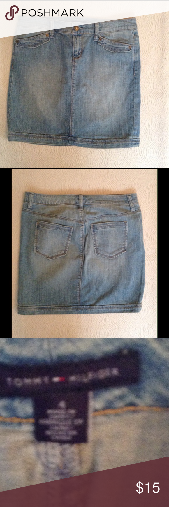 TOMMY HILFIGER denim skirt Cute little TH jean skirt, light wash in excellent condition Tommy Hilfiger Skirts Mini