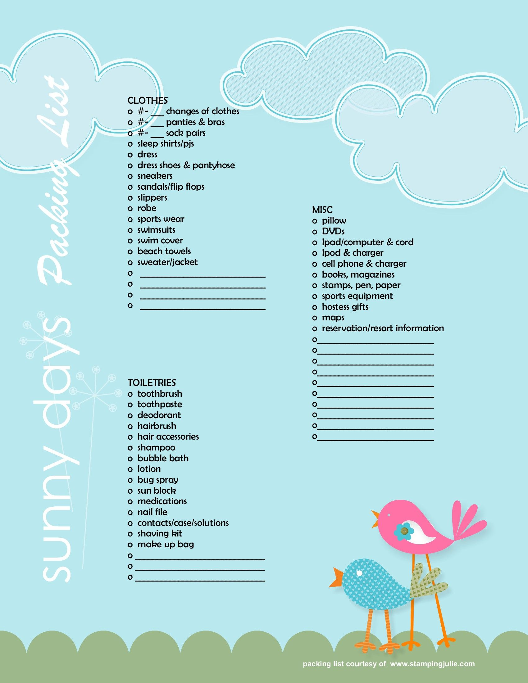 Sunny Day What To Pack Checklist For Beach Vacay 8x11 Pages 004