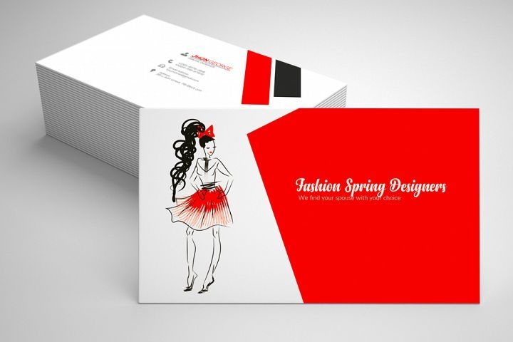 Fashion designer business card in 2018 creative business cards fashion designer business card creative white and red business card template from design bundles accmission Image collections