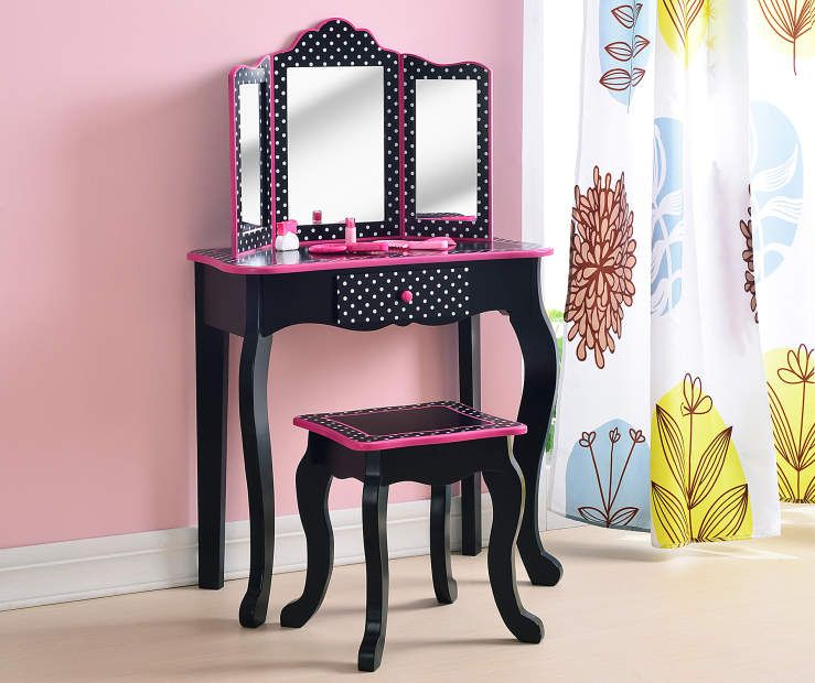 Just Home Kid S Vanity Set With Mirror Stool Big Lots Kids Vanity Set Kids Vanity Vanity Set With Mirror