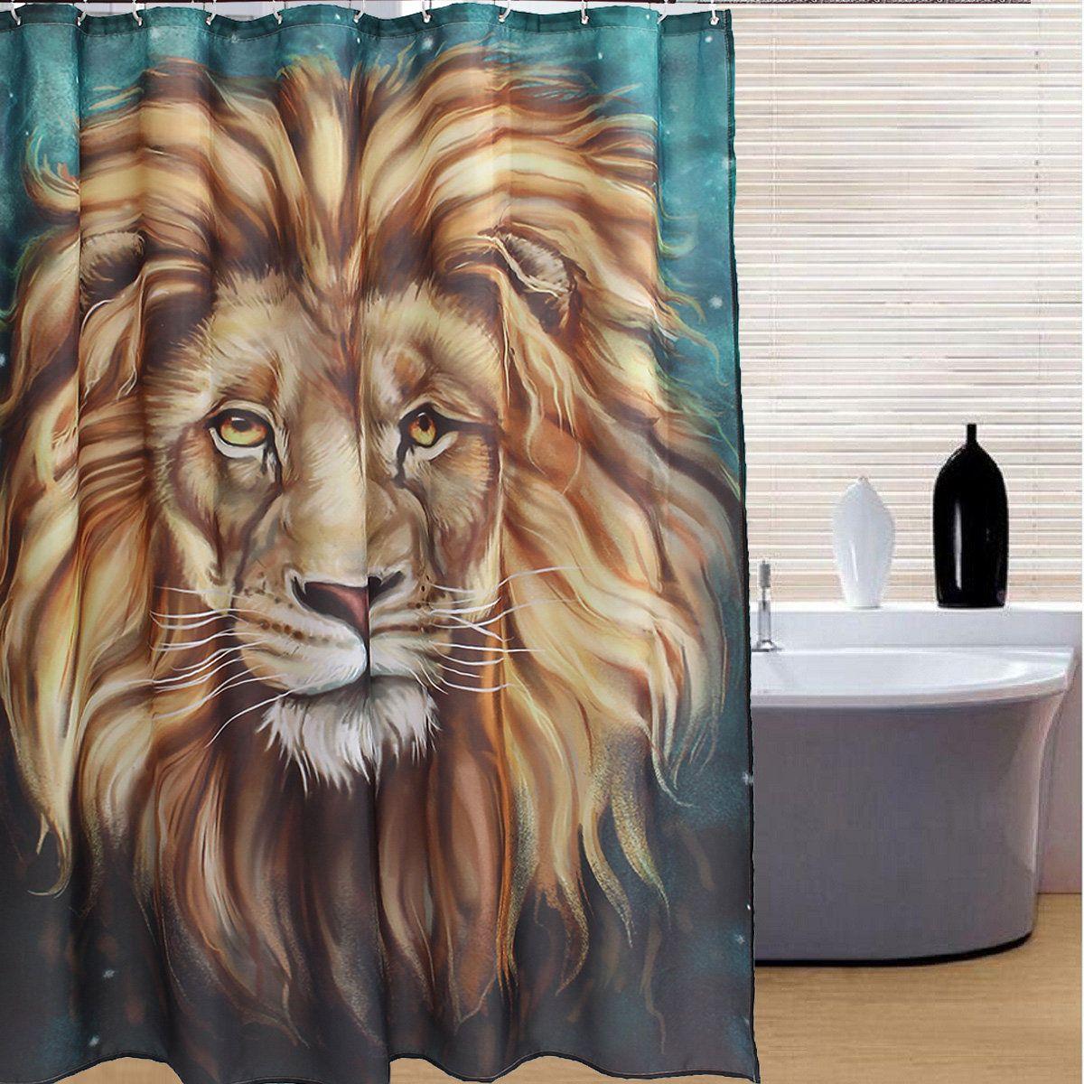 Lion Head Style Bathroom Shower Curtain With 12 Hooks Panel Fabric