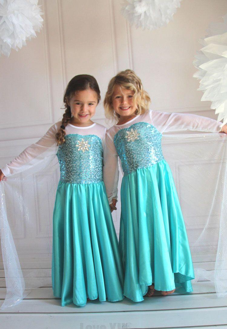2016 Fashion Custom Anna Elsa Girls Girl Dresses Princess Dress Kids ...