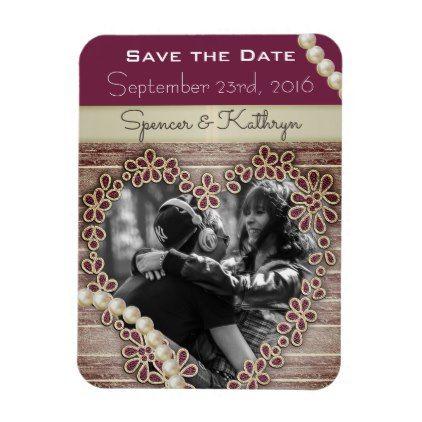 Romantic Rustic Elegant Save The Date Wedding Magnet