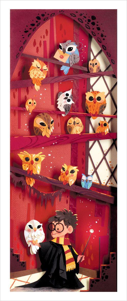 owl print of harry potter