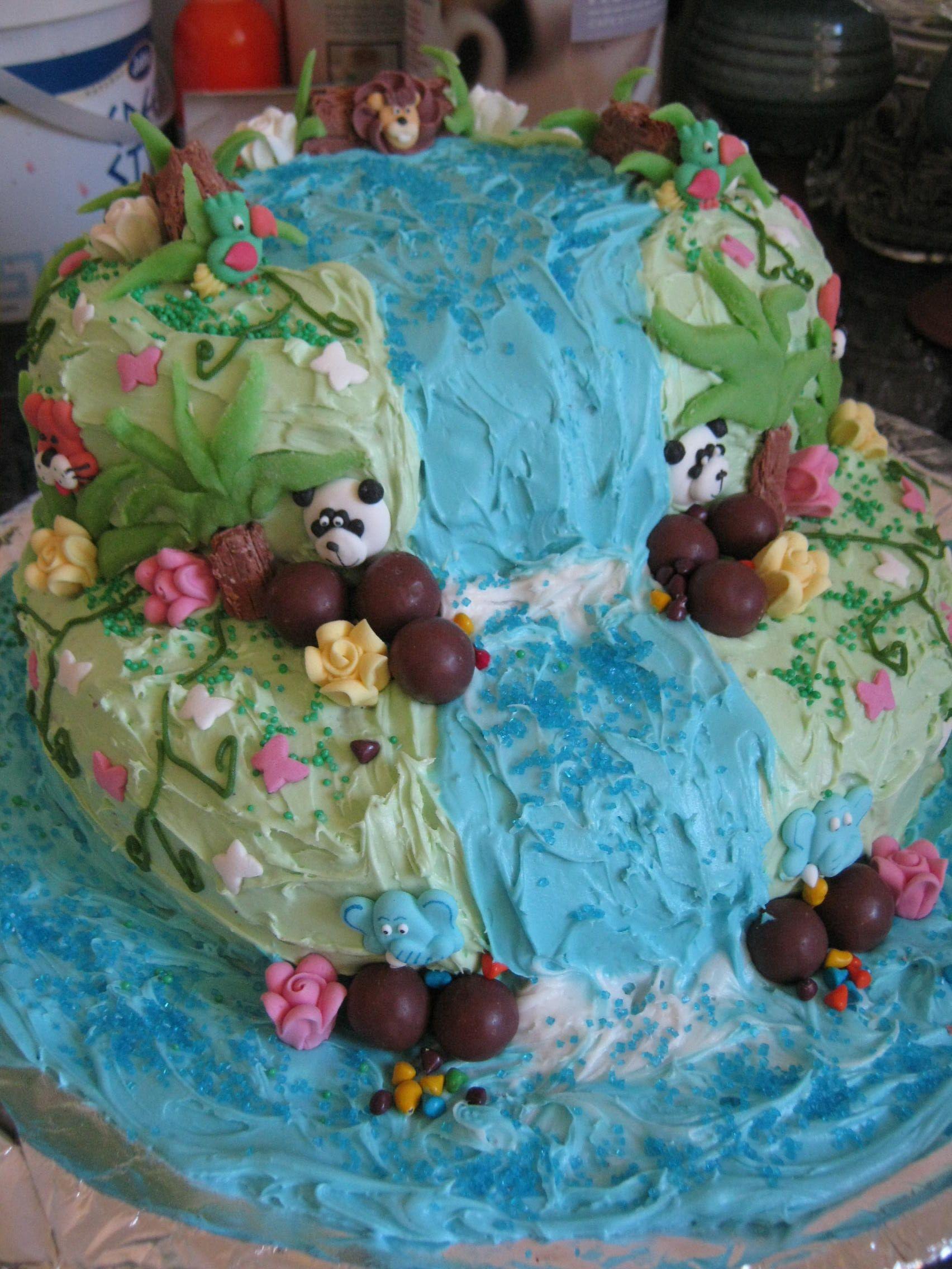 Rainforest Theme Waterfall Cake