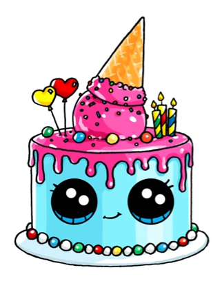 Birthday Cake Art Drawings Pinterest Desenhos Kawaii Kawaii E