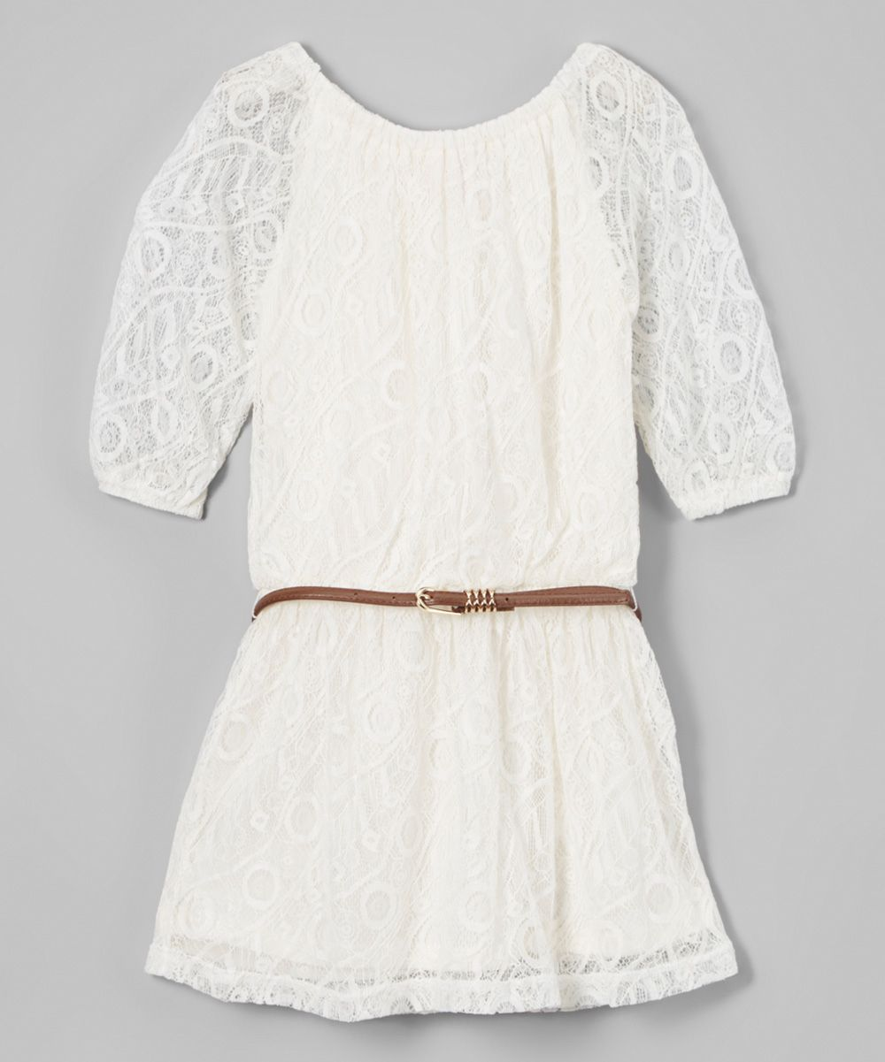 White Lace Belted Scoop Neck Dress - Girls
