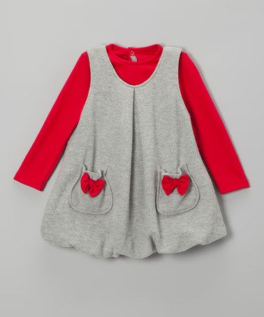 Take A Look At This Red Top Amp Gray Bubble Jumper Infant