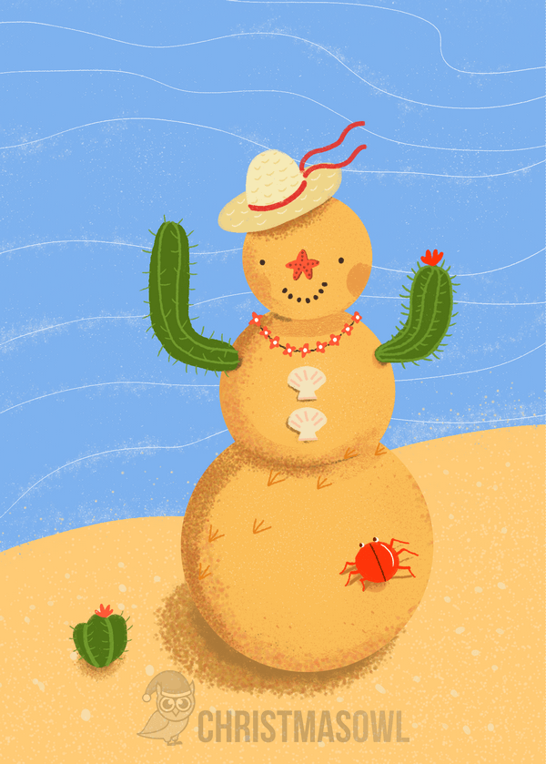 Free printable beach-themed Christmas card. Download it at https ...