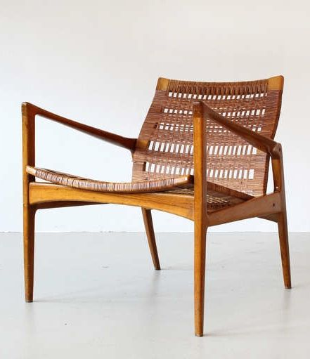 Anonymous; Walnut And Cane Lounge Chair, 1950s.
